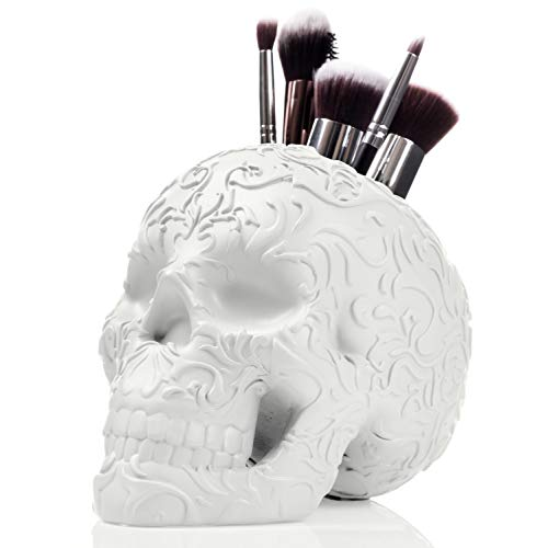 Skull Makeup Brush Holder/Pen Holder/Vanity Desk Office Organizer Stationary Decor planter (White) -