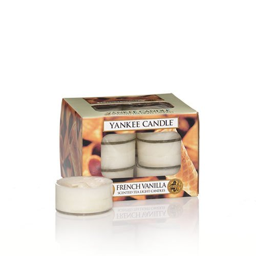 (Yankee Candle French Vanilla Tea Light Candles, Food and Spice Scent, Ivory)