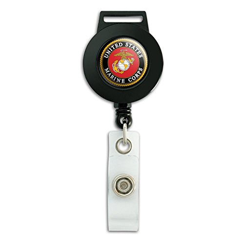 Marines USMC Emblem Black Yellow Red Officially Licensed Lanyard Retractable Reel Badge ID Card Holder