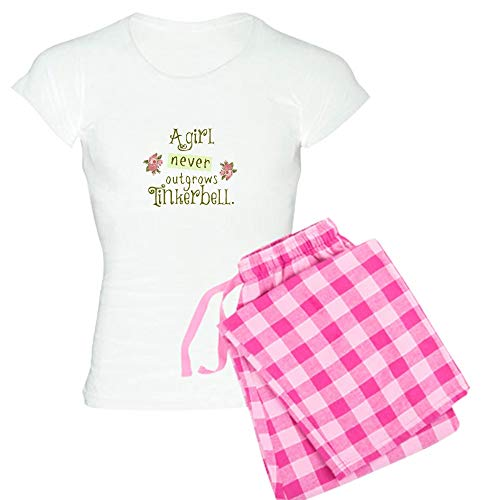 CafePress A Girl Never Outgrows Tinkerbell Pajamas Womens Novelty Cotton Pajama Set, Comfortable PJ Sleepwear ()