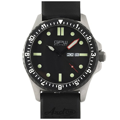 Rubber Wrist Watch Titanium - German Military Titanium Watch. GPW Day Date. Sapphire Crystal. Black Rubber Strap. 200M W/R