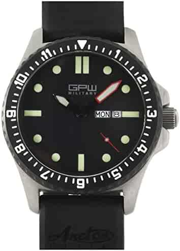 d89763c43fd German Military Titanium Watch. GPW Day Date. Sapphire Crystal. Black  Rubber Strap.
