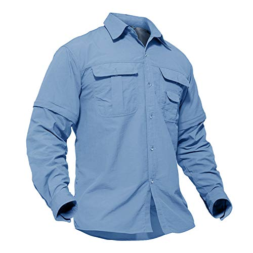 TACVASEN Men's Breathable Quick Dry UV Protection Solid Convertible Long Sleeve Shirt