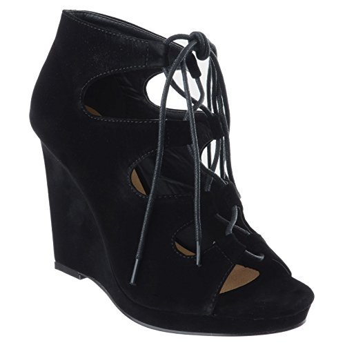 Miss Image UK Ladies Womens Ghillie Lace UP High Wedge Heel Peep Toe Gladiator Sandals Shoes Size Black Faux Suede 3nbllwS