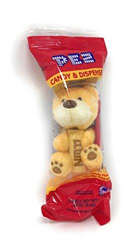 PEZ Plush Teddy Bear Dispenser Keychain, Yellow
