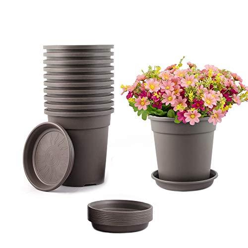 TRUEDAYS 10 PCS 1 Gallon Plastic Garden Flower Pots Seeding Plant Container Nursery Pot with Saucers Coffee