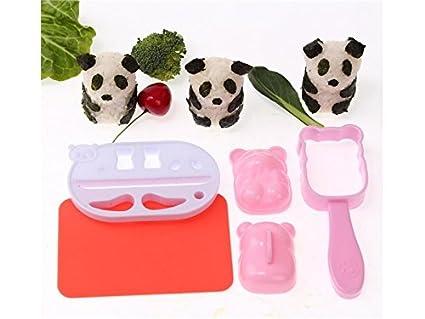 OVVO 1 Satz von 3D Panda-Form Reis Ball Schimmel Schimmel mit Nori Punsch Sushi (wie Gezeigt) Formen Kuchen Dekorieren Tools (Farbe : As Shown, Größe : 13x4.5x5cm)