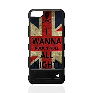 luckhappy123 store Custom Rock and Roll,i wanna rock black plastic Case for iphone 5 cover