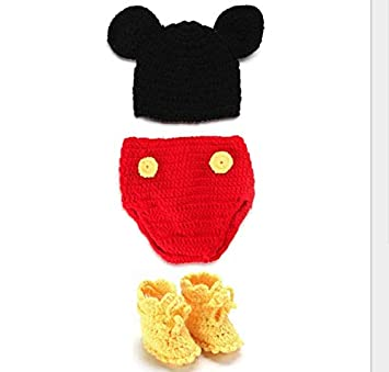 4295eb201 Newborn Photography Prop Baby Costume cute Crochet Knitted Hat Cap Girl Boy  Diaper Shoes