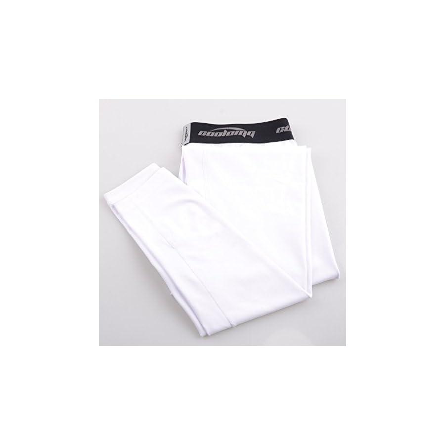COOLOMG Compression Pants Running Tights 3/4 Capri Shorts Leggings Baselayer Quick Dry