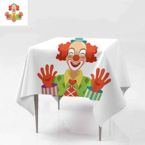AFGG Washable Square Tablecloth,Funny Circus Clown in Traditional Makeup Showing his h,Table Cover for Dining 70x70 Inch ands c artoon Friendly Clown in Classic Outfit Vector Illustration -