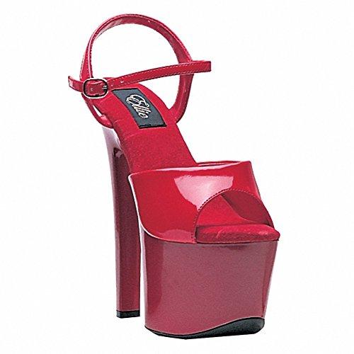 Ellie 711-flirt Mujeres Sexy Cómodo 7 Heel Sandal Red