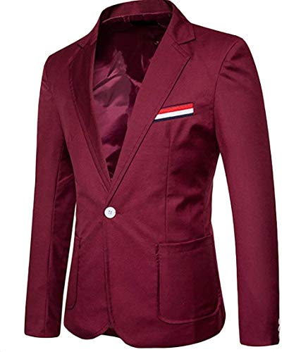 Risvolto Giovane Fit Winered Bottone Da Giacche Casual Maniche Business Tempo Libero Fashion Blazer A Saoye Lunghe Uomo 1 Men Slim Basamento qPA40YPRn