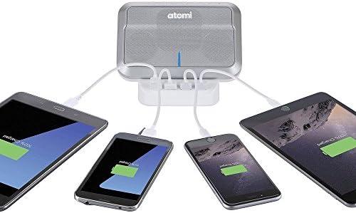 Atomi Sound Hub Portable Wireless Speaker Charge Station 4 USB Ports Bluetooth