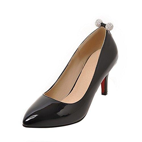 YE Damen Stiletto High Heels Lack Spitze Pumps Elegant Schuhe Schwarz