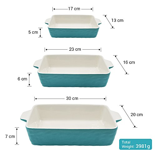 Bakeware Set, Krokori Rectangular Baking Pan Ceramic Glaze Baking Dish for Cooking, Kitchen, Cake Dinner, Banquet and Daily Use - Aquamarine, 3 Pack of Rectangular by Krokori (Image #4)