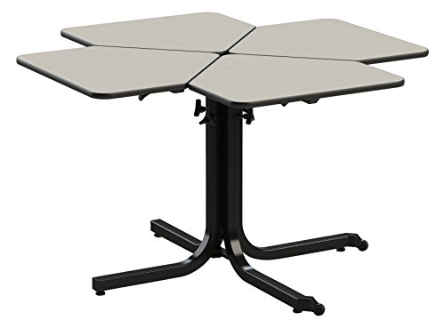 Wheel chair height adjustable table (4 person) single pedistal by Living Made EZ