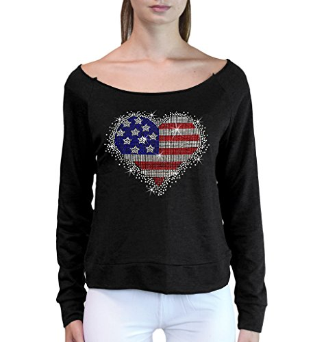 - Interstate Apparel Junior's Rhinestone American Heart French Terry Off-Shoulder Sweatshirt Large Black
