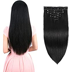"""Real Clip in Hair Extensions Natural Black 8 Pieces - Premium Womens Straight Double Weft Thick Remy Hair Extensions Clip in on Human Hair for Short Hair (14"""" / 14 inch, 1B, 92 grams/3.3 Oz)"""