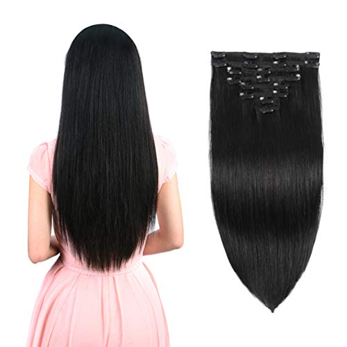 Real Clip in Hair Extensions Natural Black 8 Pieces - Premium Women Straight Double Weft Thick Remy Hair Extensions Clip in on Human Hair for Long Hair (20