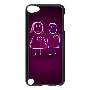 iPod Touch 5 Case Black Sweet Heartbeat Cartoon Couple N7J8TT