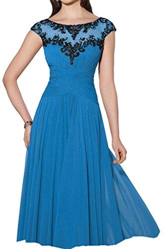 Spitze Abendkleid Linie A Damen Rundkragen Promkleid Ivydressing Festkleid Chiffon Kurz Hochwertig Blau Lang Aermel Kurz Applikation HRxXA1