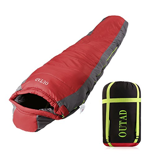 Lightweight Down Sleeping Bag Ultralight Mummy Sleeping Bag with Compression Sack Waterproof for Camping Hiking Backpacking Traveling, Red-gray