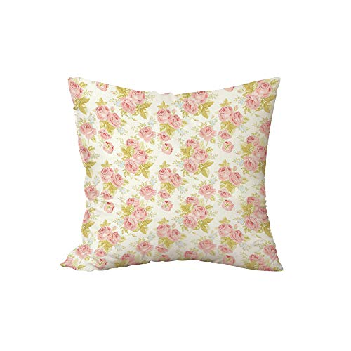 Polyester Throw Pillow Cushion,Rose,Soft Pastel Pattern Vintage Botanical Flourish Victorian Springtime Vegetation Decorative,Rose Pale Green,15.7x15.7Inches,for Sofa Bedroom Car Decorate
