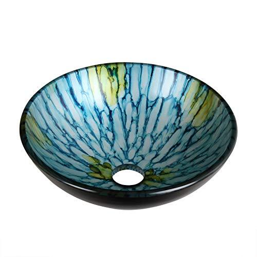 ELITE Bathroom Glass Vessel Sink with Lt Blue Striped Pattern