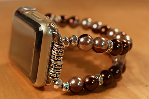 (Watch Band for Apple Watch,Brown Circles Glass Pearls and Rhinestones Watch Band for Apple Watch,Handmade)