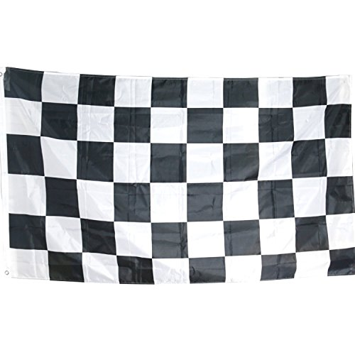 TRIXES Chequered Flag Large Black and White F1 Motor Racing 5 Foot x 3 Foot - Flags F1 Racing