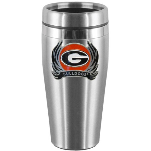 - NCAA Georgia Bulldogs Steel Travel Mug with Flame Logo