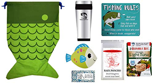 Fishing Presents for Men and Dad | 7 Piece Gift Set | Big Mouth Bass Stainless Steel Travel Tumbler and Fishing Rules Metal Plaque, Fish Shaped Drawstring Bag, Poncho, Pack of Tuna with Fork, and more