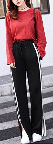 Waist Coulisse Con Con Tempo Pantaloni Eleganti Fit Libero Stripe Basic Pantaloni Jogging Nero Larghi Primaverile Tasche Lunga Spacco Pantaloni Ragazza Estivi Tuta Moda Pantaloni Trousers Slim Donna High P6ZwcTxtq