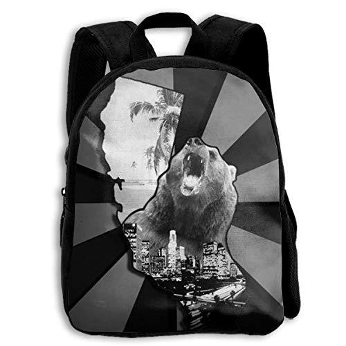 Zebra Dye California Bear Beach Printed Oxford School Bag Toddler Double Zipper Closure Casual Shoulder Bags