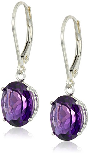 (Sterling Silver Oval Amethyst Dangle Earrings )