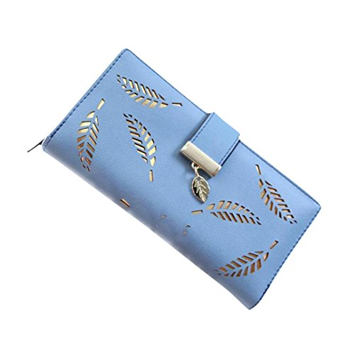 LUNIWEI Women PU Leather Leaf Bifold Clutch Purse Handbag Card Holder Insert-Organizer Wallet