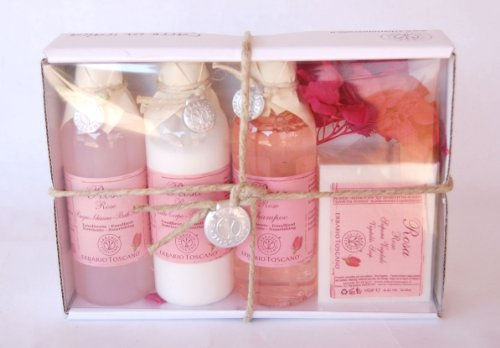Erbario Toscano Rose Gift Set: Bath Foam + Body Milk + Shampoo (Toscano Rose)