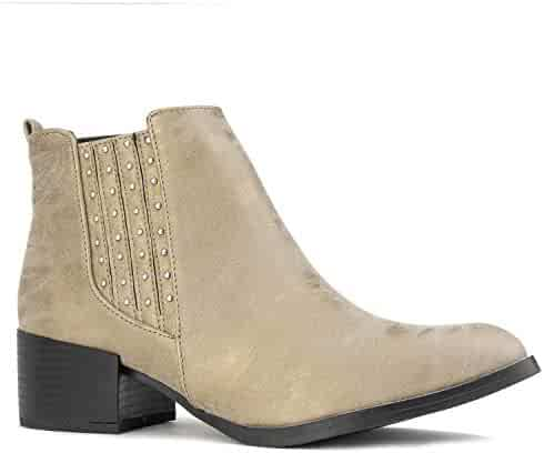 0853a29f2a6 RF ROOM OF FASHION Women's Pointy Toe Low Chunky Heel Slim Fit Ankle Booties