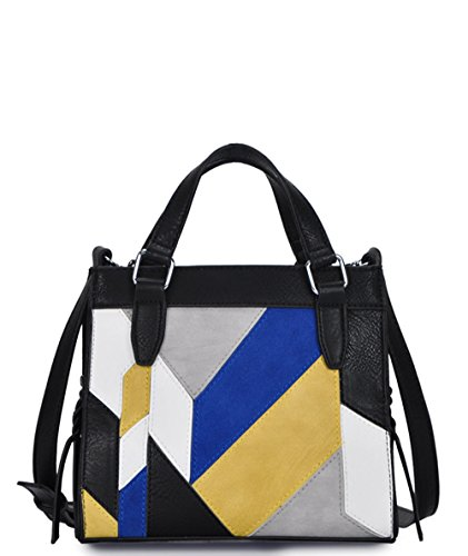 (Madison West Mini Tote Crossbody w/Leather Front- Black/Blue)