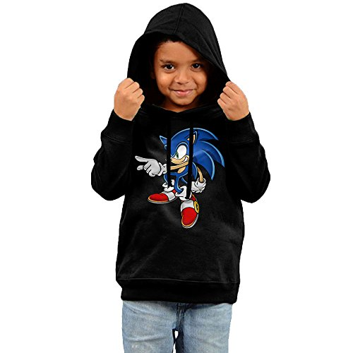 Price comparison product image Toddler Cartoon Sonic Art Assets Dvd Sonic The Hedgehog 16 100% Cotton Long Sleeve Hoodie Sweatshirt Black US Size 5-6 Toddler