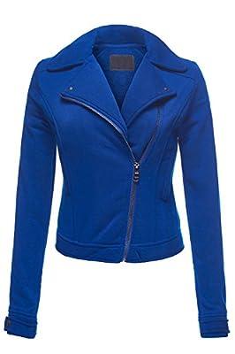 Luna Flower Women's Basic Moto Rider Slim Fit Fleece Zip-up Long Sleeve Jacket