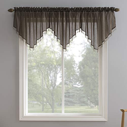 No. 918 Erica Crushed Voile Ascot Beaded Sheer Rod Pocket Curtain Valance, 51