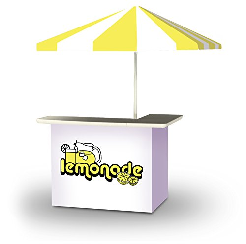 Best of Times 2001W2504 Vintage Lemonade Portable Bar and 8 ft Tall Square Umbrella, One Size Yellow; White ()