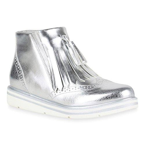 Stiefelparadies Damen Metallic Stiefeletten Chelsea Boots Plateau Schuhe Strick Zipper Glitzer Booties Profilsohle Lack Plateauschuhe Wedges Flandell Silber Quasten