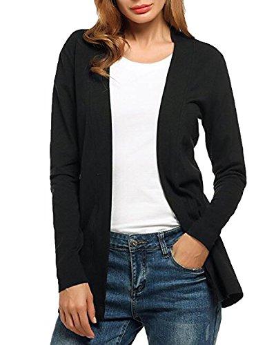 Auxo Women Flyaway Long Sleeve Lightweight Boyfriend Front Cardigan Sweater Black US 8-10/ASIAN - Asian Black Boyfriend