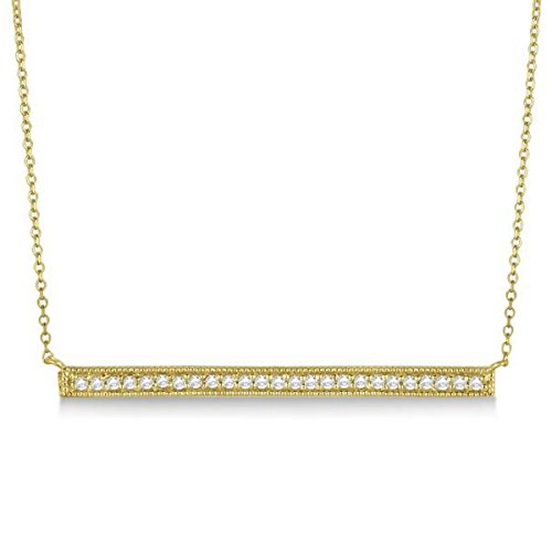 Ladies Dazzling Pave Set Thin Horizontal Diamond Bar Necklace In Polished 14k Yellow Gold (0.25 Ct Dazzling Diamond)
