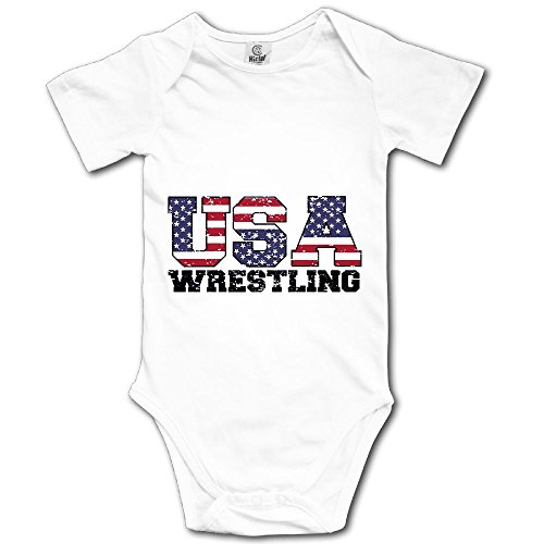 WWTBBJ-B USA Wrestling Printed Baby Boy Girl Short Sleeve Bodysuit Jumpsuit Outfits by WWTBBJ-B