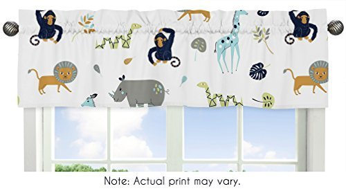 Sweet Jojo Designs Turquoise and Navy Blue Safari Animal Window Treatment Valance for Mod Jungle Collection