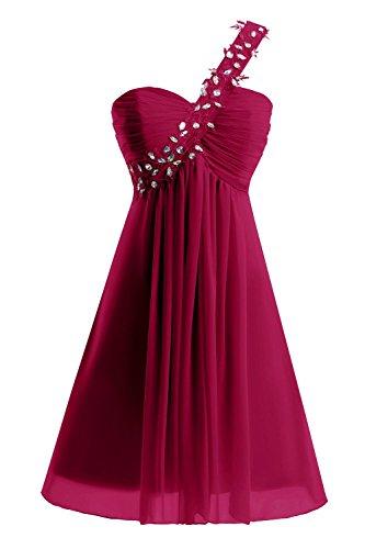 Prom One Beaded Bridal amp;Acute;s Dresses Shoulder Short Burgundy Women Dora Homecoming qATRpR